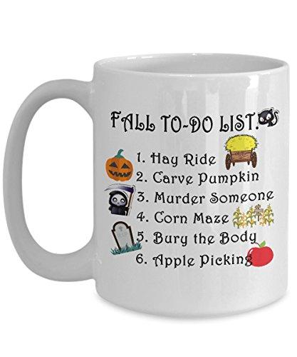 Autumn Mug Fall to do list Funny Office Work Pumpkin Coffee Mugs Best Halloween Costumes Set Gifts Idea for mens womens boys girls -