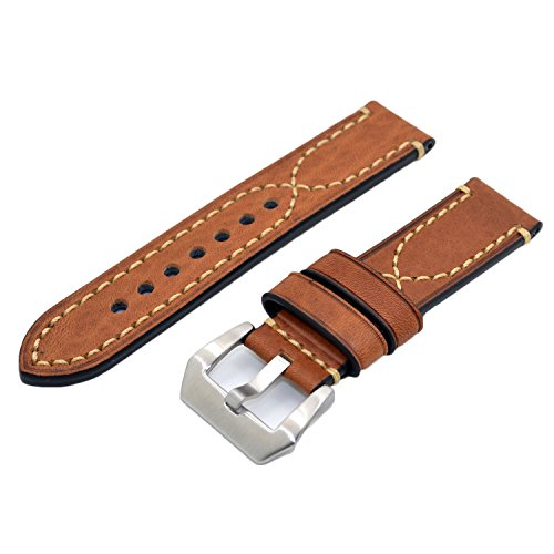Brown 20mm Genuine Leather Handmade Wristwatch Watch Band Watchband for Men (Leather Band Round Photo Watch)