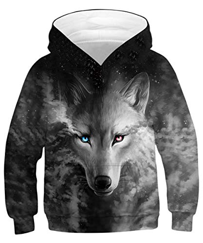 GLUDEAR Kids Unisex Galaxy Animals Sweatshirts Pocket Pullover Hoodies 4-13Y,Grey Wolf,11-13 Years ()