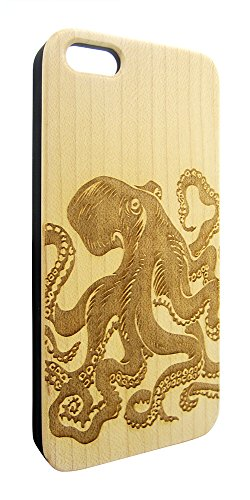 Genuine Maple Wood Organic Octopus Sea Animal Snap-On Cover Hard Case for iPhone 6 Plus
