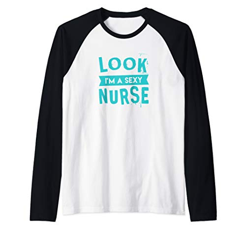 Sexy Nurse Costume - Easy Costume - Halloween Raglan Baseball Tee ()