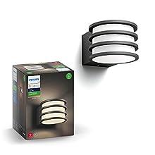 Philips Hue Lucca Aplique inteligente exterior LED (IP44), luz blanca cálida, Compatible con Alexa y Google Home