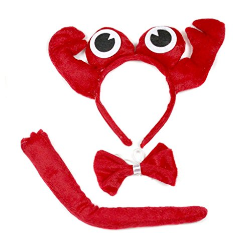 Petitebella 3D Headband Bowtie Tail Unisex Children 3pc Costume (Red Crab) -