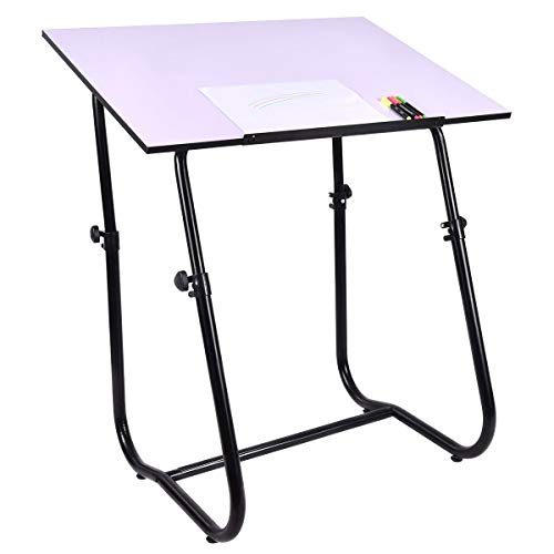 Drafting Table Art Workstation White Height Adjustable Large Surface Tabletop Furniture MD Group by MD Group