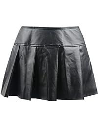 Women's Punk Rock Faux Leather Bodycon Short Skirt