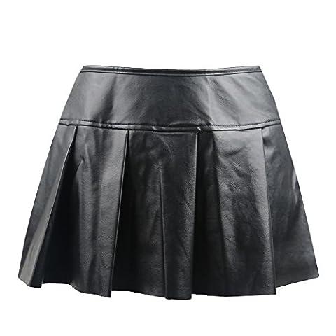 Killreal Women's Sexy Gothic Steampunk Pleated Leather Mini Skirt Black X-Large - Black Pvc Vinyl Mini
