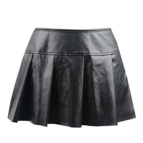 (Killreal Women's Gothic Steampunk Pleated Leather Mini Skirt Black Large)