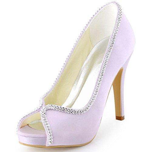 ElegantPark EP11083 Women Pumps Peep Toe Rhinestones Platform High Heel Satin Evening Prom Wedding Dress Shoes Lavender US (Toe Rhinestone Platform)