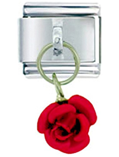 Red Rose Italian Charm Bracelet - ROSE RED TONE Dangle Italian Charm 9mm Link - 1 x GA060 Single Bracelet Link