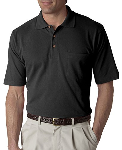 UltraClub Men's Classic Pique Polo Shirt with Pocket,  Large - (Mens 100 Pique Polo)