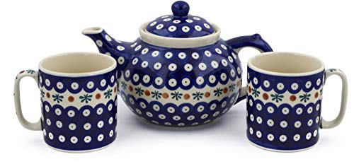 Polish Pottery 3-Piece Tea Coffee Set for Two (Mosquito Theme) + Certificate of Authenticity