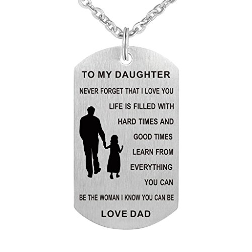 Dad Mom To my Daughter Dog Tag Pendant Necklace Military Jewelry Personalized Custom Dogtags Love Gift (Dad to Daughter)
