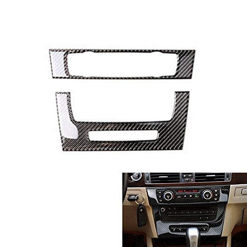 Bmw M3 E92 - Thor-Ind Carbon Fiber AC Air Conditioning CD Control Console Panel Trim Cover Frame forBMWOld 3SeriesE90E92E932005-2012 Car Interior Accessories Stickers Decor (with Navigation A)