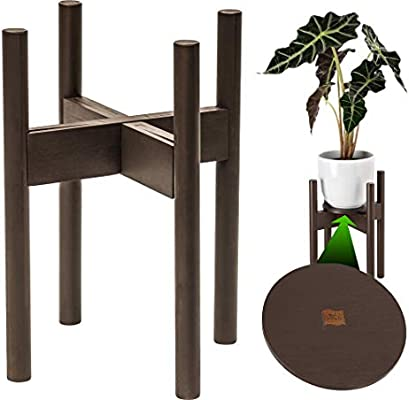 Amazon Com Zpirates Plant Stand For Indoor Plants Planter Tray Included Adjustable Size Fits 8 9 10 11 12 Inches Plant Pots Mid Century Modern Plant Decor Brown Bronze Bamboo Wood Garden Outdoor