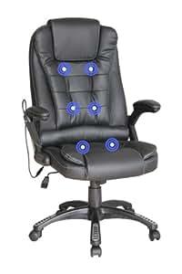 More4homes silla masaje silla de oficina marr n reclinable con 6 puntos de masaje giro 360 - Sillas masaje ...