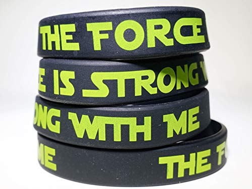 The Force Party Favors Bands, Galaxy Wars Theme Birthday Supplies Goody Bag Kids Teen Tween Size Wrist Bracelets for Boys Girls 24 Pack ()