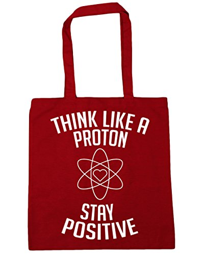 HippoWarehouse Think like a proton stay positive Tote Shopping Gym Beach Bag 42cm x38cm, 10 litres Classic Red