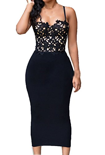 ZKESS Womens Sleeveless Bustier Lace Top Party Club Bodycon Dress Large Size Black (Sleeveless Polyester Womens Club)