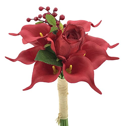 Bridal Roses Lily Bouquet (BELLAUSA 12 heads Red Calla bridal bouquet, Calla Lily Bridal Wedding Bouquet Head Lataex Real Touch Flower Bouquets,wedding, party decoration home decoration (DM1096))
