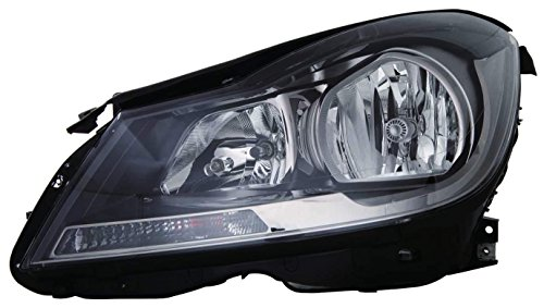 Mercedes Benz C Class Coupe 2012-2015 Headlight Assembly Halogen Black Without Corner Light Driver Side CAPA 204 820 99 59