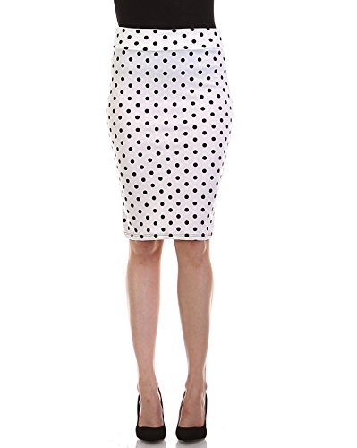 (Bold And Beautiful Women's Knee Length Pencil Skirt - High Waisted Midi - Office Wear - Plus and Regular Size - Made in USA (Medium, Polka Dot))
