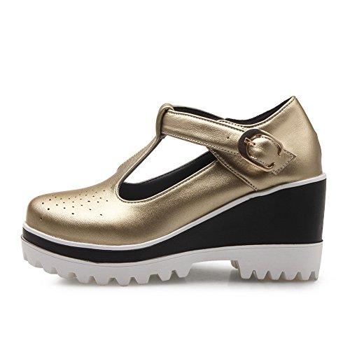 BalaMasa Womens Sandals Closed-Toe Light-Weight Road Fashion Urethane Sandals ASL04478 Gold IykrBhC63z