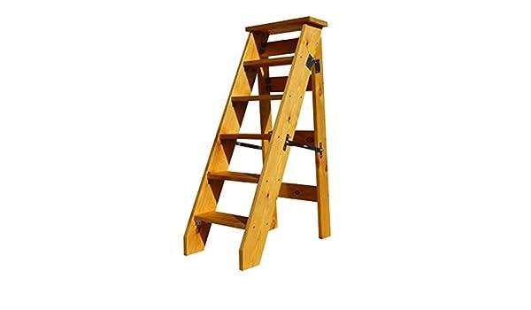 XMGJ Escaleras extensibles Taburete con peldaños - Escalera plegable multifunción de madera para el hogar, estante de 6 pisos para un espacio de un solo lado que pavimenta el estante de la