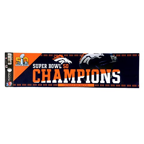 (Rico Denver Broncos Official NFL 11 inch x 3 inch Super Bowl 50 Champions Bumper Sticker by 168696 )