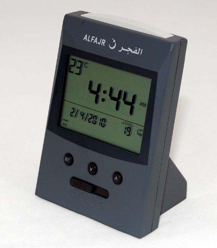 Vertical Desk Clock - Al Fajr Vertical Grey Azan Clock (Model Cs-03)