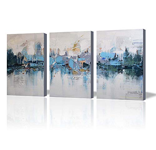 ARTLAND Modern 100% Hand Painted Framed Abstract Oil Painting Blue Villages 3-Piece Gallery-Wrapped Wall Art on Canvas Ready to Hang for Living Room for Wall Decor Home Decoration 24x48inches -
