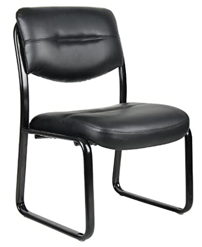 Boss Office Products B9539 Leather Sled Base Side Chair in Black - Boss Office Desk