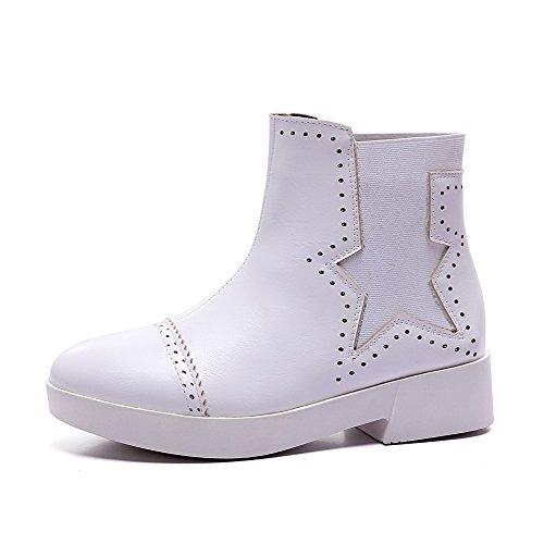 AllhqFashion Damen Niedriger Absatz Flaum Futter Rein Ziehen auf Rund Zehe Stiefel, Weiß, 41