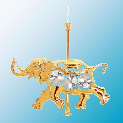 (24k Gold Carousel Elephant Ornament - Clear Swarovski)