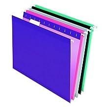 Pendaflex Reinforced Hanging Folders, Letter Size, Assorted Jewel-Tone Colors, 25 per Box (4152 1/5 ASST2)