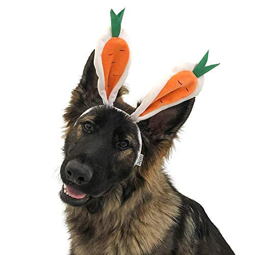 Dog Easter Costume - Midlee Carrot Bunny Ears Easter Dog Headband Costume (Large)