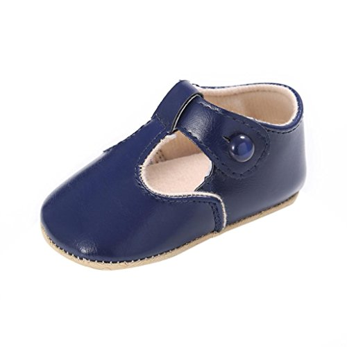Coper Newborn Toddler Baby Boy Girl Leather Soft Sole Non-slip Shoes (Blue, 6~12 Month) (Baby Costumes For Boys)