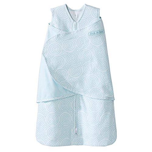 Halo SleepSack 100% Cotton Swaddle, Ikat Circle Aqua, Newborn Aqua Circle