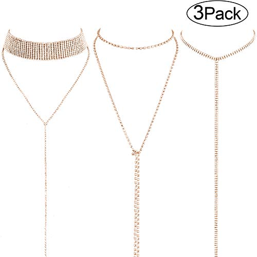 (3 Pieces Layered Necklace Layered Choker Necklace Double Rhinestones Crystal Fashion Multilayered Long Choker Necklaces Rhinestone Jewelry Necklace Chains for Women and Girls (Gold))