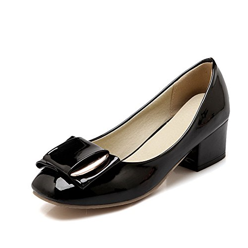 Pull Soild Odomolor Shoes Heels On Pu Court Round Women's Toe Black Low wxRqSRt