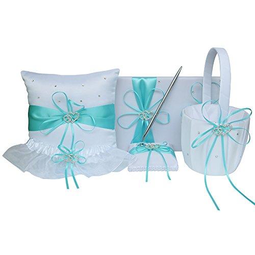 ARKSU 5pcs Wedding Sets Flower Girl Basket + Ring Bearer Pillow + Guest Book Pen + Pen Set Holder + Bride Garter Rustic Bridal Wedding Shower Ceremony Anniversary-Aqua Blue