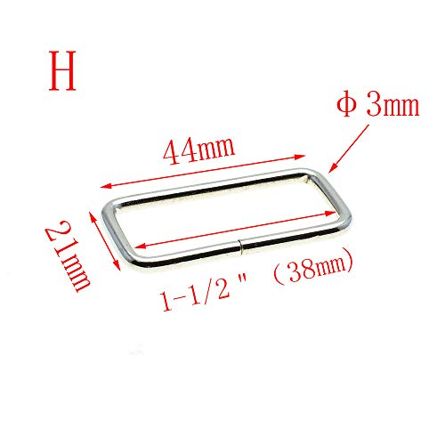 10pcs Metal Wire Formed Rectangle Ring Loops (Nickel, 1-1/2(38mm))