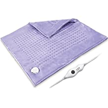 """King Size Heating Pad XXXL, 23"""" x 23"""" Both-Side Ultra Soft Flannel Electric Fast Heating Pad Extra Large for Pain Relief, 10Ft Cord, Machine Washable Auto Shut Off, Dry / Moist, Light Purple"""