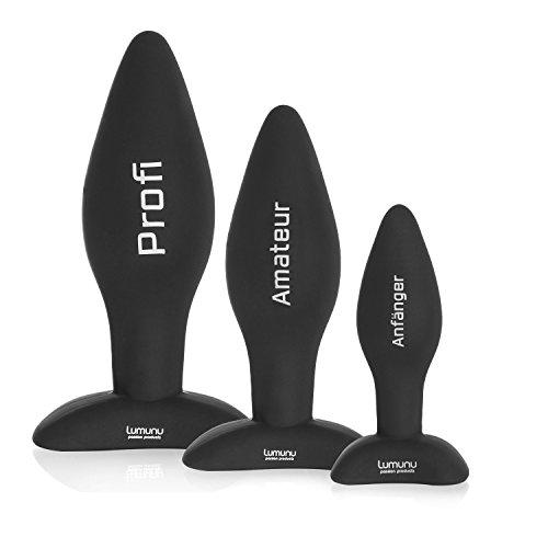 Deluxe Silikon Butt Plug Set (Ø 28,Ø 40 & Ø 45), Analplugs mit Standfuss