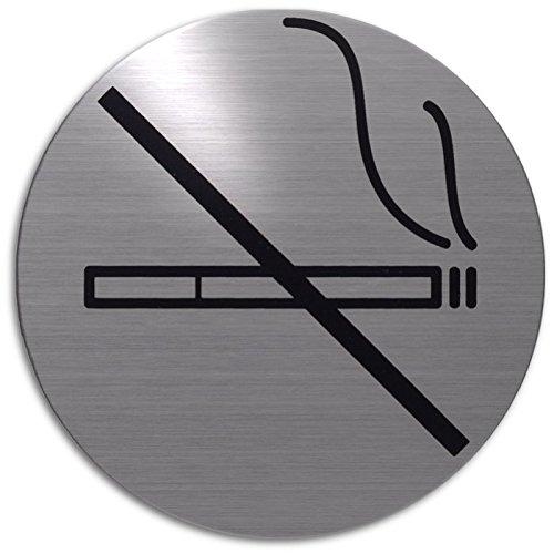 Xaptovi Targhetta adesiva targa, PITTOGRAMMI: sala fumatori - area per fumatori| Garanzia di 5 anni | Ø 82 mm tondo | acciaio inossidabile | autoadesivo | piatto segno | Porta segnaletica: sala fumatori - area per fumatori