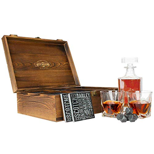 Atterstone Crate Whiskey Box Set with Premium Decanter and 2 Swirl Glasses, Includes 9 Chilling Stones and 2 Dark Stone Coasters, Encased in Polished Wood Box Great for Holiday and Wedding Gifts ()