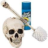 Design Toscano Skullduggery Skeleton Gothic Bathroom Decor Toilet Bowl Brush Set, 16 Inch, Polyresin, Full Color