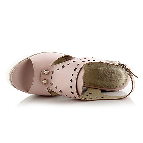 Amoonyfashion Damesmengsel Materialen Gesp Open Teen Hoge Hakken Degelijke Sandalen Roze