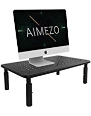 AIMEZO Monitor Stand Riser for Computer Laptop, Printer Notebook and All Flat Screen Display with Vented Metal Platform and 3 Height Adjustable Underneath Storage, Black
