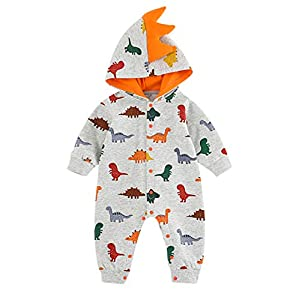 VILOVE Newborn Infant Baby Girl Boy Lovely Cartoon Dinosaur 100% Cotton Hooded Romper Jumpsuit Outfits Baby Clothes…