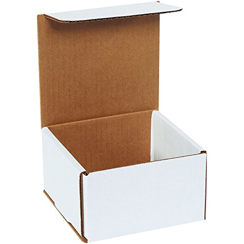 Boxes Fast BFM553 Corrugated Cardboard Mailers, 5 x 5 x 3 Inches, Tuck Top One-Piece, Die-Cut Shipping Cartons, Small White Mailing Boxes (Pack of 50) ()